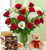 Red Roses and Calla Lilies with Chocolates & Bear