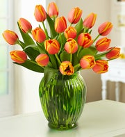 Orange Sunset Tulips, 20 Stems + Free Vase