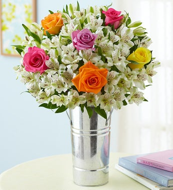 Peruvianlily Flowers on Assorted Rose   Peruvian Lily Mixed Bouquet