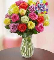 Happy Birthday Assorted Roses + Free Vase
