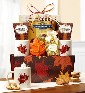 Autumn Leaves Cocoa & Mug Gift Basket