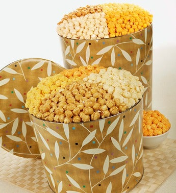The Popcorn Factory� Leaves on Gold Popcorn Tin