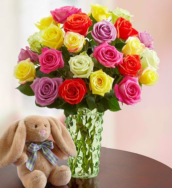 Easter Roses with Bunny, 12-24 Stems