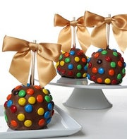 Chocolate Dipped Apples with M&M?s
