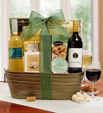 Flowers of Spring Wine Basket