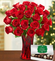 Red Roses with Holiday Chocolate