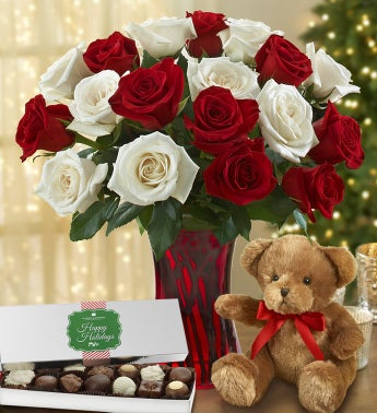 Peppermint Roses with Bear + Free Chocolate