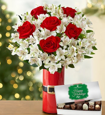 Glad Tidings Rose & Peruvian Lily Bouquet
