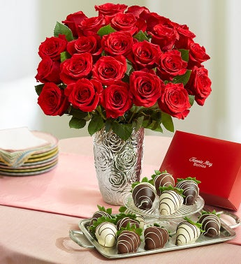Red Roses and Chocolate Covered Strawberries
