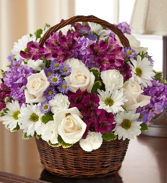 Lavender and White Basket