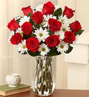 Red Rose & White Daisies