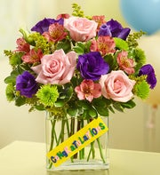 Congratulations Bouquet in a Rectangle Vase