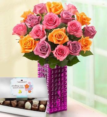 Sorbet Roses, 18 Stems