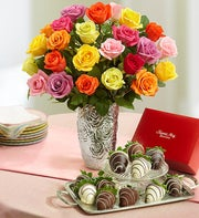 Assorted Roses with Chocolate Covered Strawberries