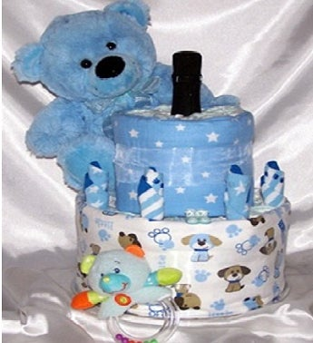 Two Tier & Bubbles in Blue Gift Hamper