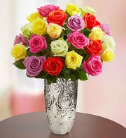 Assorted Roses, 24 Stems + Free Vase