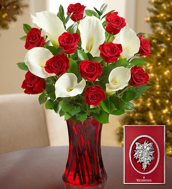 Red Rose & Calla Lilies with Waterford� Ornament