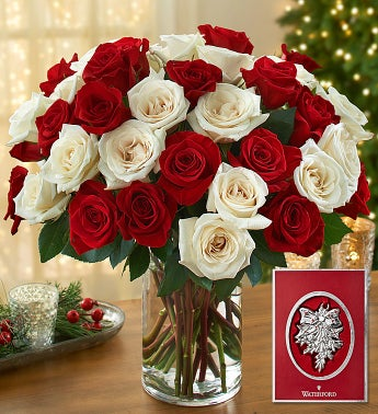 Peppermint Rose Bouquet with Waterford� Ornament
