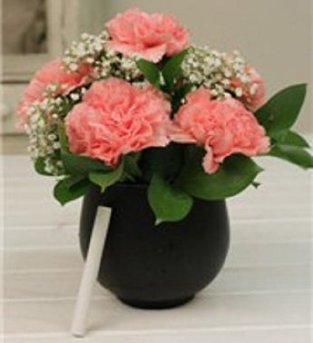 Pink Carnations in a Chalkboard Vase