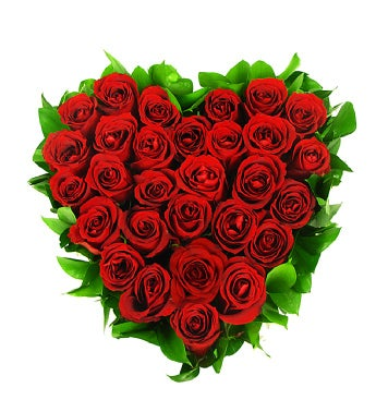 24 Red Roses in a Love Heart Design