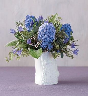 herb garden bouquet in faux bois vase