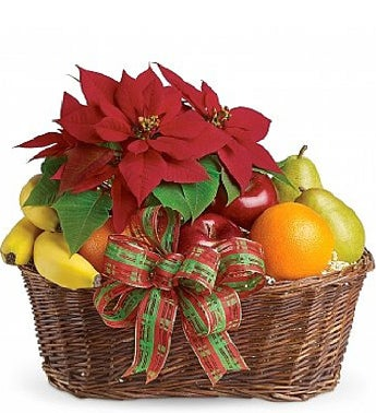 Red Poinsettia And Delicious Fruit Basket