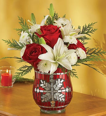 red and white roses in Mosaic Votive Holder