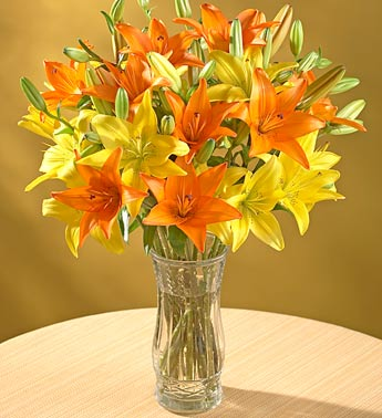 Orange and Yellow Lily Bouquet