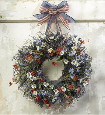 wreath with navy blue caspia and red silk daisies