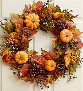 Faux Festive Pumpkin and Gourd Wreath - 24""