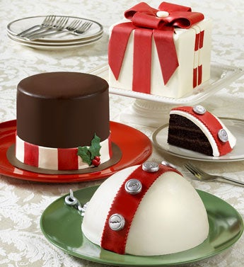 ornament, frosty hat and jingle bell cake