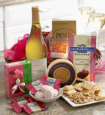 basket of premium wine and snacks