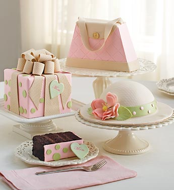 present, hat, purse shaped cakes