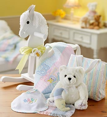 Rocking Horse, Blanket, and Plush Bear Gift Set