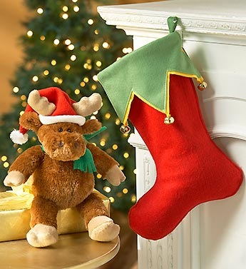 Christmas Moose with Stocking