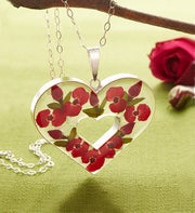 Fresh Rosebud Heart Pendant Necklace