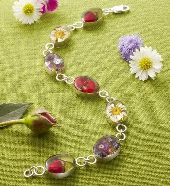Fresh Garden Flower Oval Link Bracelet