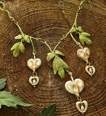 Bleeding Heart Triple Drop Link Necklace