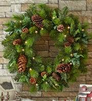 Pre-Lit Faux Pinecone Wreath - 30?