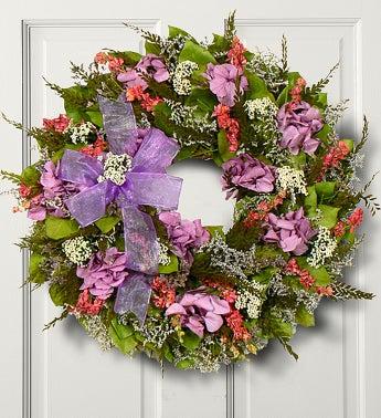 "Lavender Hydrangea Wreath - 16"""