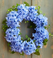 Faux Blue Hydrangea Wreath - 16""