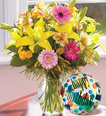 lilies, alstroemeria, mini gerberas, w/balloon