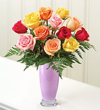 Multicolored Roses, 12 Stems