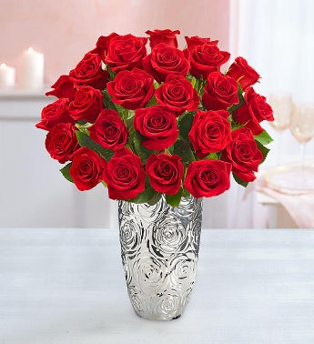 Red Roses, 24 Stems + Free Vase