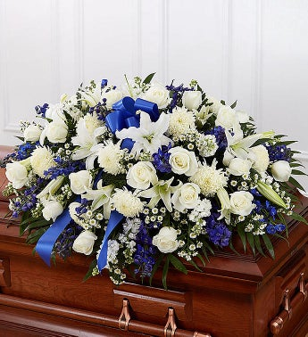 Cherished Memories Half Casket Cover-Blue & White