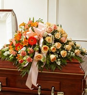 Cherished Memories Half Casket Cover-Peach & White