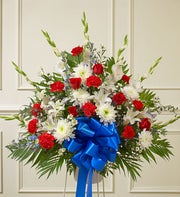 Red White And Blue Sympathy Standing Basket