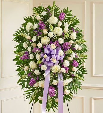 Deepest Sympathies Lavender & White Standing Spray