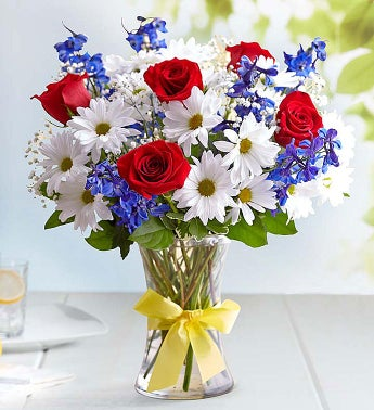 Tie a Yellow Ribbon Patriotic Flower Arrangement