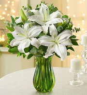 All White Lily Bouquet + Free Vase